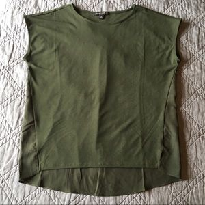 Banana Republic Army Green Mixed Media Blouse Med